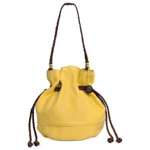 The Sak Yellow Indio Leather Drawstring Bucket Bag
